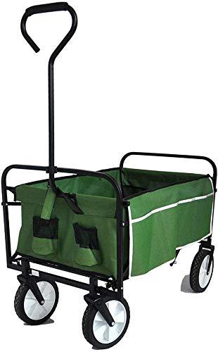 Hooseng Collapsible Folding Utility Wagon, Heavy Duty Garden Cart for Shopping Beach Outdoors, Green