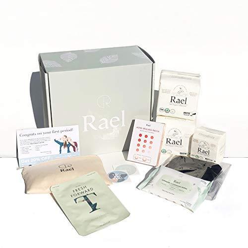 Rael First Period Teen Kit- Petite Pads, Regular Pads, Regular Liners, Feminine Wipes, Acne Healing Patches, Tea Tree Mask, Period Panty (Medium)