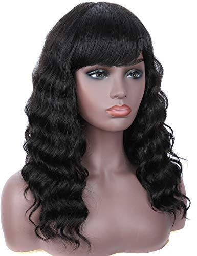 Beauart 100% Brazilian Body Wave Human Hair Wigs 150% Density 16 inch Long Black Real Hair Wigs Human Hair Wigs with Bangs for Women