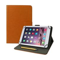 Emartbuy Universal 7 Inch - 8 Inch Orange Multi Angle Folio Wallet Case Cover with Card Slots and Stylus Pen Compatible with Selected Devices Listed Below