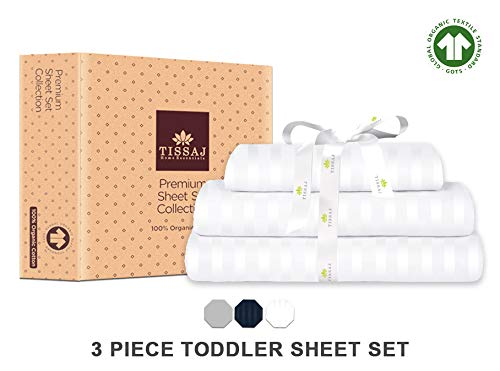 Tissaj Toddler Sheets Set - Stripes Ultra White Color - 100% GOTS Certified Organic Cotton - 300 TC Thread Count - 3 Piece Bedding - 1 Pillow Case, Flat Sheet & Fitted Sheet with 8 Inch Deep Pocket