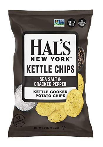 Hal's New York Kettle Cooked Potato Chips, Gluten Free, 2 oz (Pack of 24) (Sea Salt & Cracked Pepper)