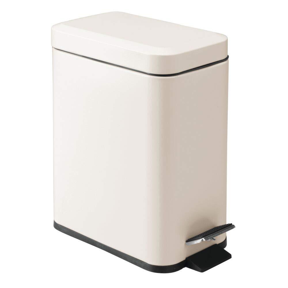 mDesign 1.3 Gallon Rectangular Small Steel Step Trash Can Wastebasket, Garbage Container Bin for Bathroom, Powder Room, Bedroom, Kitchen, Craft Room, Office - Removable Liner Bucket - Cream/Beige