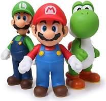 Super Mario Toys – Bros Action Figures Toy Set of 3 Pcs 5'' Mario Luigi,Yoshi,Garage Kit Character Model