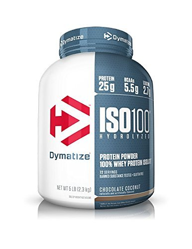 Dymatize ISO100 Hydrolyzed Protein Powder, 100% Whey Isolate Protein, 25g of Protein, 5.5g BCAAs, Gluten Free, Fast Absorbing, Easy Digesting, Chocolate Coconut, 5 Pound