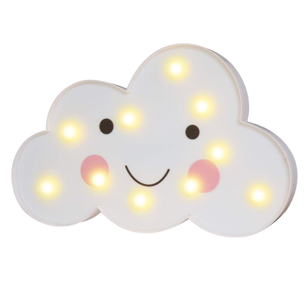 Pooqla 3D Painted Cloud LED Night Lights, Emoji Face Marquee Cloud Signs, Battery Operated Table Lamp Girl's Gift Toy Home Decor for Kids, Baby, Nursery, Living Room Dorm (Smile Cloud)