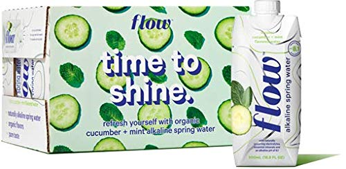 Flow Alkaline Spring Water, Organic Cucumber + Mint, 100% Natural Alkaline Water pH 8.1, Electrolytes + Essential Minerals, Eco-Friendly Pack, 100% Recyclable, BPA-Free, Non-GMO, Pack of 12x500ml