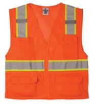 ML Kishigo 1196 Ultra-Cool Polyester Mesh Multi-Pocket Vest, Extra Large, Orange
