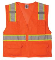 ML Kishigo 1196 Ultra-Cool Polyester Mesh Multi-Pocket Vest, Extra Large, Orange