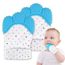 Baby Chew Teething Mitten, Silicone Teething Toys Gloves for Unisex 3-12 Months Baby Shower Gift, Pack of 2 Cat Claw Blue