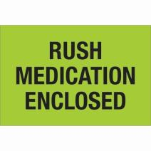 "Aviditi Tape Logic 2"" x 3"",""Rush Medication Enclosed"" Fluorescent Green Warning Sticker, for Shipping, Handling, and Packing (1 Roll of 500 Labels)"