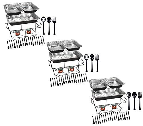 Tiger Chef 99-Piece Black Food Warmer Chafing Dish Buffet Set, Disposable Chafing Dishes with Colorful Baking Pans, Fuel Gel, Serving Utensils and Plastic Cutlery