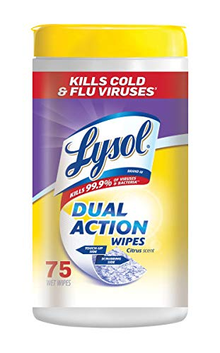 Lysol Dual Action Disinfecting Wipes, Citrus, 75 ct (Pack of 3)