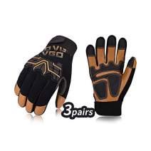 Vgo 3Pairs High Dexterity Medium Duty Mechanic Glove, Rigger Glove, Anti-abrasion, Touchscreen (Size XL, Brown, GA9617)