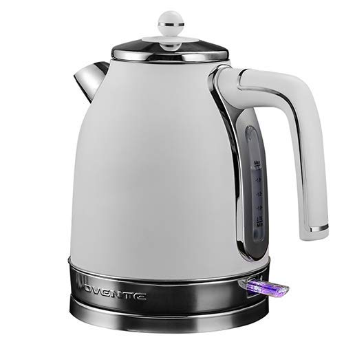 Ovente Electric Water Kettle 1.7 Liter with Premium Matte Stainless Steel, Victoria Collection 1500 Watts, Removable Anti-Scale Filter, Centered Water Gauge and Fast Boiling, White (KS777W)