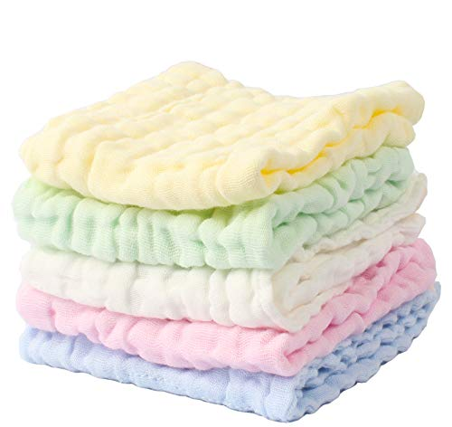 """Baby Muslin Washcloths and Towels,12""""x12"""" Reusable Wipes, Best for Shower Gift"""