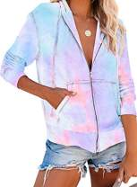 IHOT Women Casual Long Sleeve Zip Up Tie Dye Printed Lightweight Hooded Sweatshirt Hoodies Jacket with Pockets Light Blue Medium
