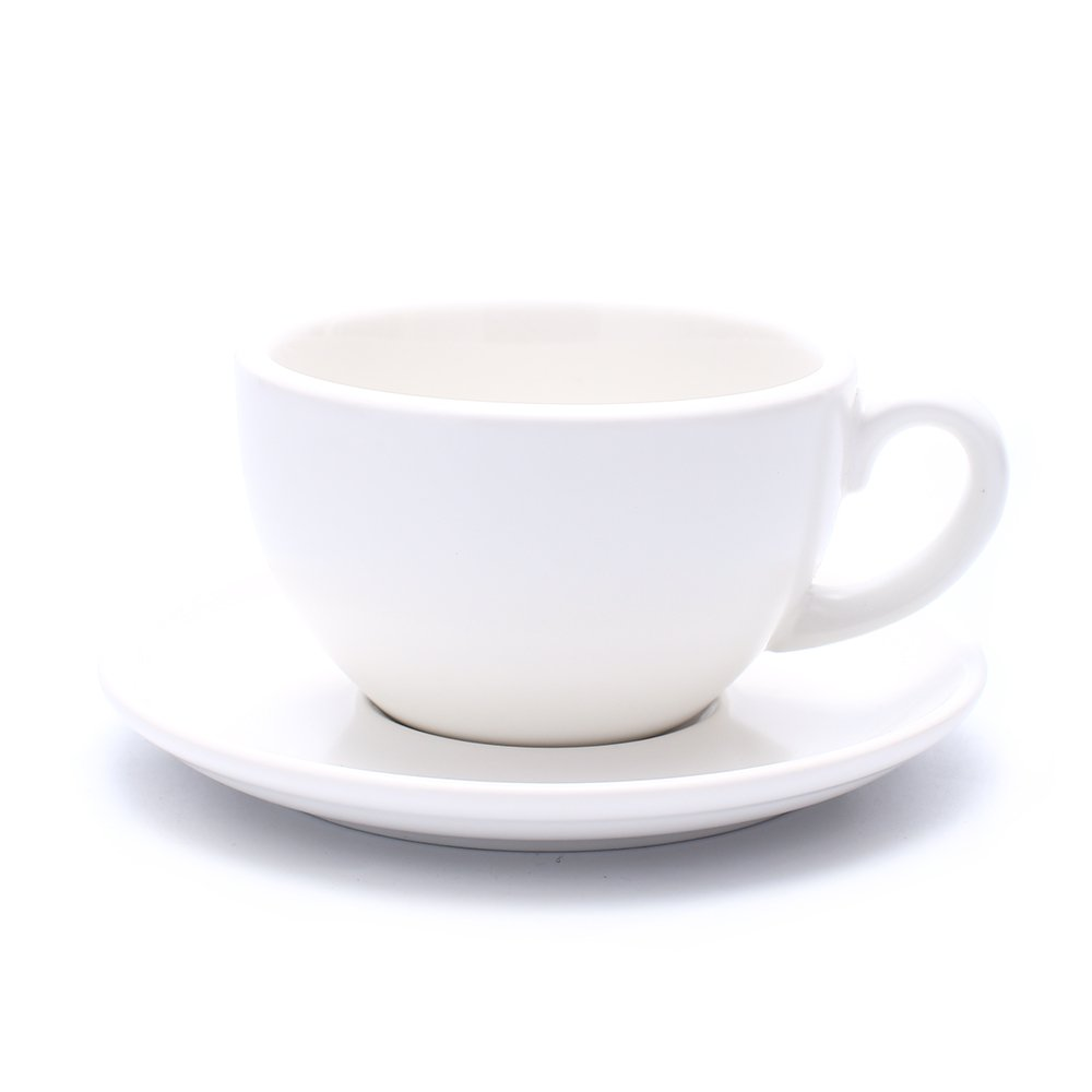 Coffeezone Great Cup Shape for Latte Art Cappuccino Barista Cup Saucer New Bone China for Coffee Shop 3 Capactiy to Choose (Matte White, 10.5 oz)