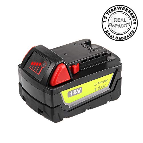 Real Capacity 4.0Ah Replacement Battery for Milwaukee 18V Battery XC 48-11-1840 48-11-1850 48-11-1828 48-11-1820 48-11-1852 48-11-1890 Cordless Power Tool Batteries