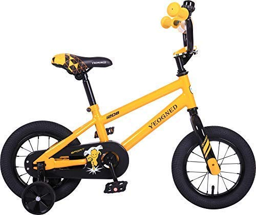 """YEOGNED Kid's Bike with Adjustable Training Wheels, 12"""" 16"""" 20"""" Kids Bicycle, Six Colors Available"""