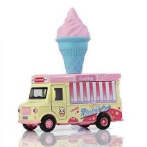 ROMIRUS Ice Cream Cart for Kids Toddlers Pretend Play Street Food Truck Die Cast Plastic Toys 1:36 Scale Sounds and Lights
