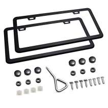 Mushan 1 Pair License Plate Frame Shield Stainless Steel Bumper U.S/Canada Standard Guard Car Plate Frame with Screw Cap Kit