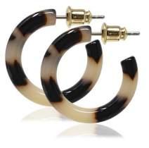 Tortoise Shell Hoop Earrings Small Resin Acrylic Acetate Hoops For Women Men 925 Sterling Silver Posts