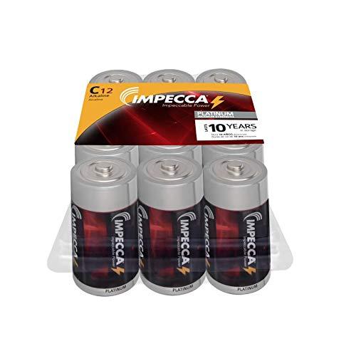 IMPECCA All Purpose Alkaline C Batteries- Platinum Series  High Performance  Long Lasting Shelf Life  Leak Resistant  (12 Pack)