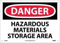 "NMC D548RB OSHA Sign, Legend ""DANGER - HAZARDOUS MATERIALS STORAGE AREA"", 14"" Length x 10"" Height, Rigid Plastic, Black/Red on White"
