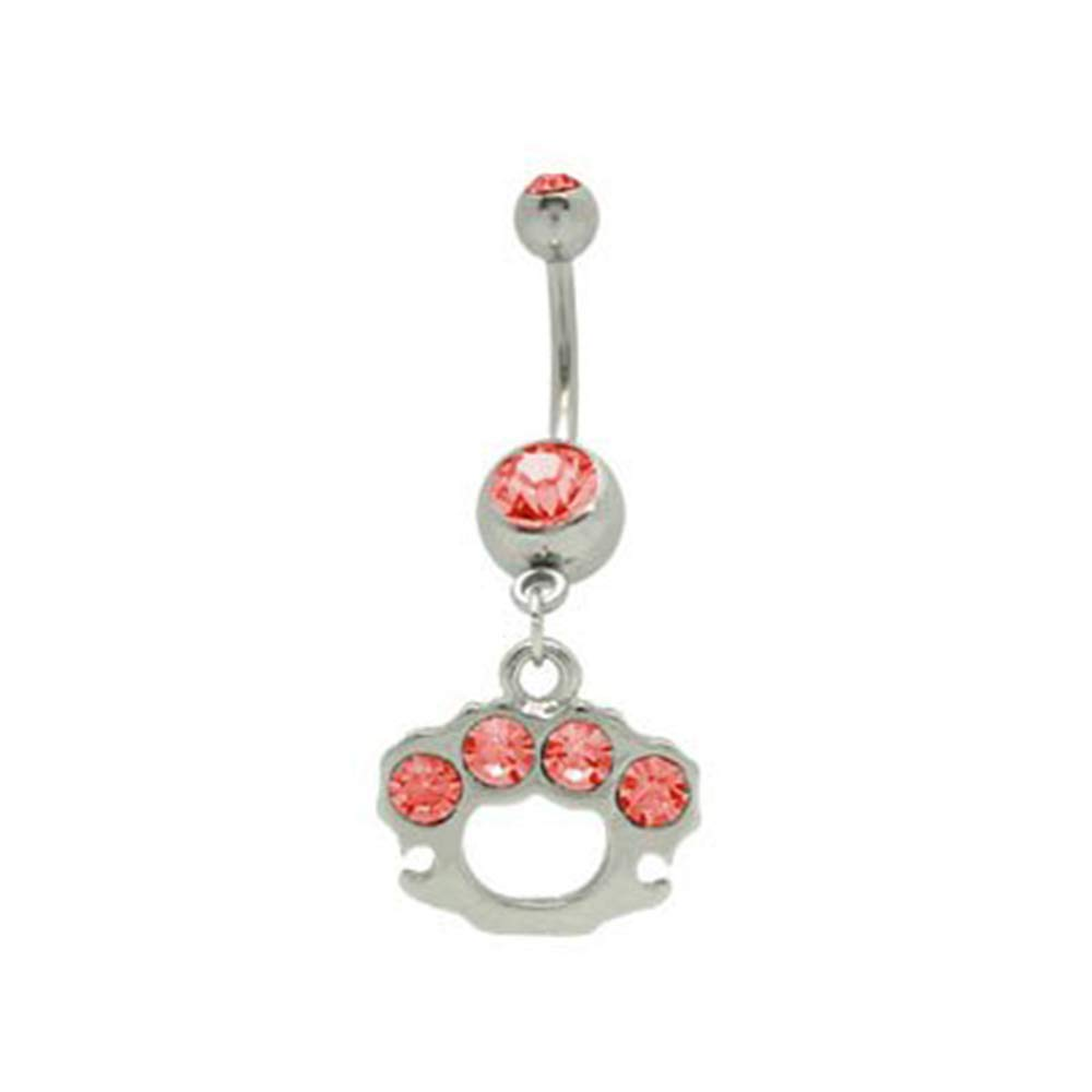 BodyJewelryOnline Dangle Brass Knuckles Belly Ring with Red Cz Gems