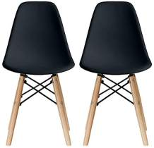 2xhome - Kids Size Plastic Toddler Chairs with Natural Wooden Dowel Legs, Black (Set of 2)