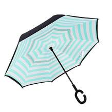 Owen Kyne Windproof Double Layer Folding Inverted Umbrella, Self Stand Upside-Down Rain Protection Car Reverse Umbrellas with C-Shaped Handle (Green Stripe)