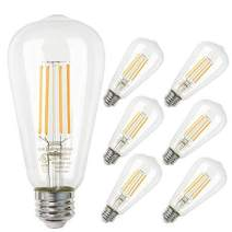 E26 LED Bulbs,6 Pack ST58 Dimmable 7W Vintage Edison LED Light Bulbs with 800lm,Warm White 2700K,Passed UL Certification,Squirrel Cage Filament Light for Decorate Restaurant,Home,Reading Room,Office