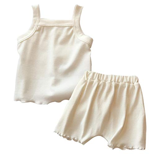 Toddler Baby Girl Strap Sleeveless Top Shorts Pants Ribbed Outfits Summer 2PCS Shorts Clothes Set (White, 18-24 M(Size:110))
