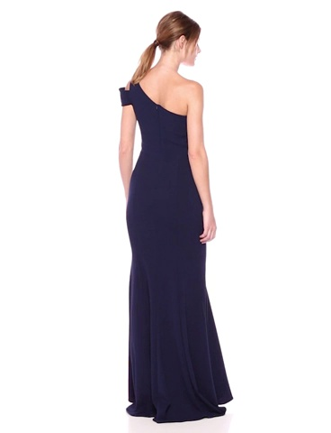 Betsy & Adam Long Slim One Shoulder Dress | Cold Shoulder Evening Gown | Form Fitting Formal Dress with Asymmetrical V Neck