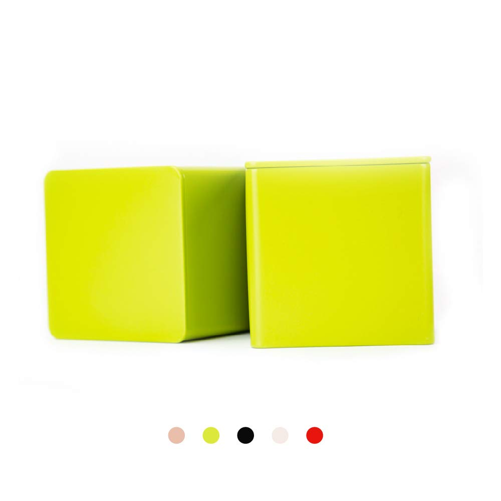 Tianhui Colorful Square Tin Can Empty Cube Steel Box Storage Container for Treats, Gifts, Favors, Loose Tea, Coffee and Crafts, Mini Portable Small Storage Kit (Green, 2-Small)