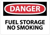 "NMC D279P OSHA Sign, Legend ""DANGER - FUEL STORAGE NO SMOKING"", 10"" Length x 7"" Height, Pressure Sensitive Vinyl, Black/Red on White"