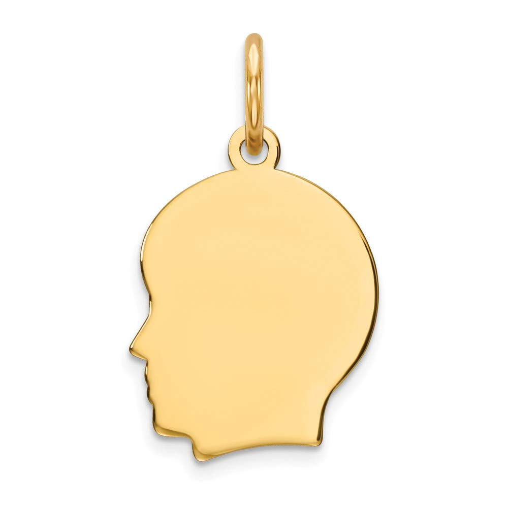 14k Yellow Gold Small .013 Gauge Facing Left Engravable Boy Head Pendant Charm Necklace Disc Girl Fine Jewelry For Women Gifts For Her