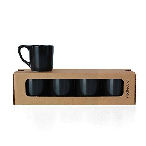notNeutral 01501774R LINO Coffee Mugs, Set of 4, Matte Black