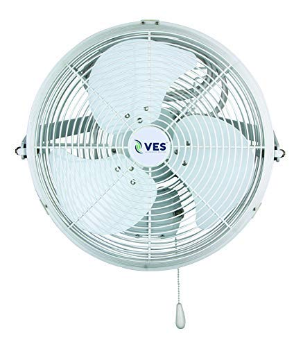 VES Outdoor Moisture Resistant Wall/Ceiling Mount Shop Fan/Industrial Basket Fan for Cooling and Ventilation (18 inch, White)