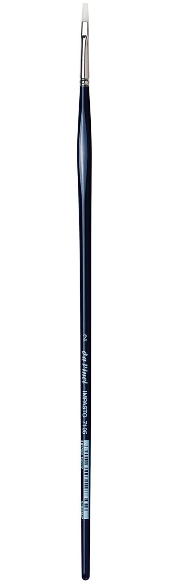da Vinci Oil & Acrylic Series 7105 Impasto Paint Brush, Flat Extra Stiff White Synthetic, Size 2