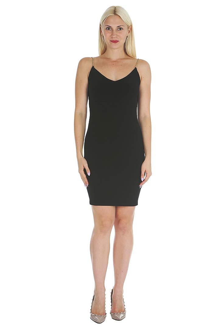 bebe Women's Sexy Chain Straps Cowl Back Bodycon Little Black Dress