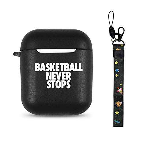Basketball Black Soft TPU Case Frosted Protective Cover Anti Fingerprints Compatible with AirPods 2 & 1 with Wristlet Strap