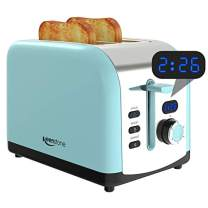 2 Slice Retro Toasters, Keenstone Stainless Steel Toaster with Timer, Wide Slots, Defrost/Reheat/Cancel Fuction, Removable Crumb Tray, Blue