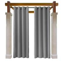 Macochico Grey Outdoor Curtains 84W x 102L for Patio Gazebo Cabana Library Hotel Club Classroom Kids Room Water Repellent Blackout Drapes Dustproof Thermal Insulated Noise Buffer(1 Panel)