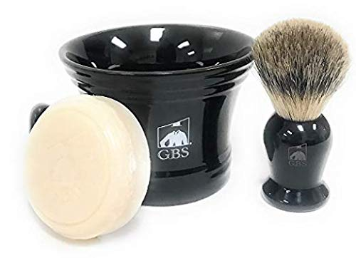 GBS Men's Wet Shaving Set Black -3 Piece set - Pure Badger Hair Shaving Brush, Ceramic Mug and 97% All Natural Shave Soap Compliments any Shaving Razor For The Best Shave Great Gift Men