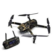 Black Gold Marble Decal Kit for DJI Mavic 2 Drone - Includes 1 x Drone/Battery Skin + Controller Skin