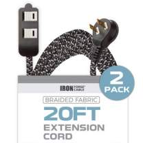 20Ft Fabric Extension Cord 2 Pack - 16/2 SPT-2 Black and White Braided Cloth Electrical Power Cable Set