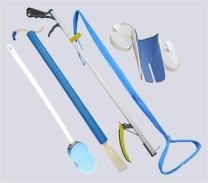 """ArcMate Hip Kit DELUXE- Includes 5 Aids/6 Activities, Set with Bath Sponge, Shoe Horn, Deluxe Sock Aid, Push-Pull Clothing DressEZ Dressing Stick, Leg Lifter, and ErgoMate 26"""" Deluxe Reacher (8327)"""