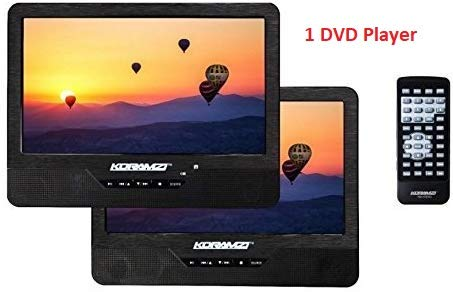 """Koramzi Portable 9"""" Dual Screen (1) DVD Player with Rechargeable Battery/ AC Adapter/ AV in/ USB &SD Card Reader/ Remote Control/ Car Adapter/ IR Transmitter Ready/ USB / Headrest Mounting Kit"""